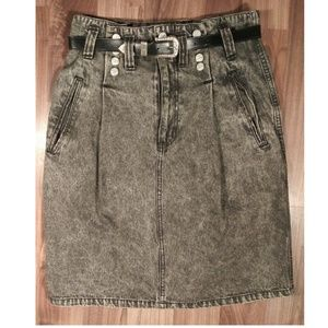 Vintage denim high waisted pencil skirt acid wash